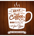 Vintage coffee poster on a dark wooden background vector