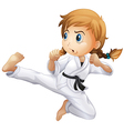 A female doing karate vector