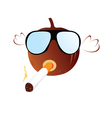 Pumpkin with sunglasses and cigarette vector