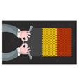 Hand made flag of belgium vector