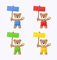 Teddy bears with colored signboards vector