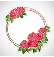 Floral frame of pink watercolor roses vector