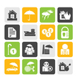 Silhouette insurance and risk icons vector