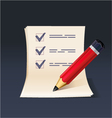 Blank note paper or check list with pencil icon vector