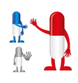 Pills with hands vector