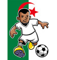 Algeria soccer player with flag background vector