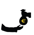 Euro in bag in hand color vector