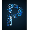 Letter p font from numbers vector