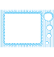 Graphic lace frame in blue tones simple vector