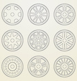 Set of icons of a car rims thin line style vector