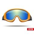 Classic orange snowboard ski goggles with colorful vector