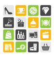Silhouette shopping and mall icons vector