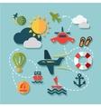 Flat summer vacation icons vector