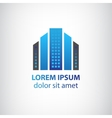 Blue vertical abstract office building logo vector