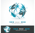 Sphere 3d design symbol globe blue anr white vector