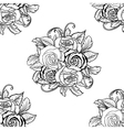 Seamless monochrome pattern with roses vector