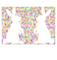 Colorful easter background with rabbits vector