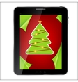 Abstract design tablet with christmas background vector