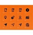 Navigator icons on orange background vector