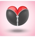 Red heart in black leather vector