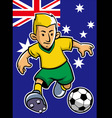 Australia soccer player with flag background vector