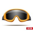 Classic orange snowboard ski goggles with black vector