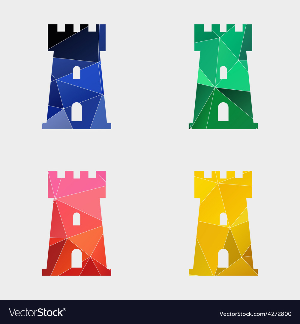 Castle icon abstract triangle vector
