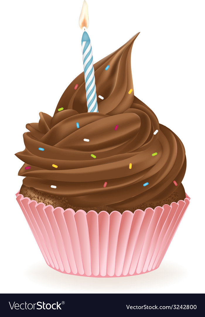 Chocolate birthday cupcake vector | Price: 3 Credit (USD $3)