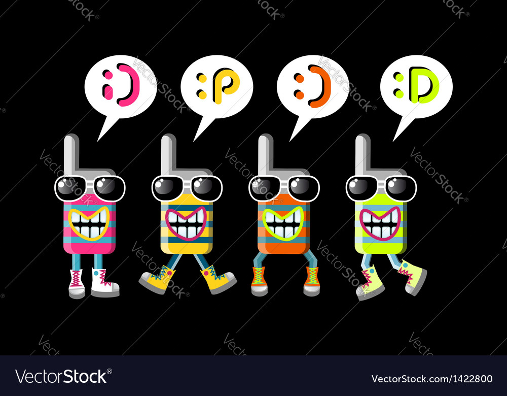 Cool mobile phone group of mascots vector | Price: 1 Credit (USD $1)