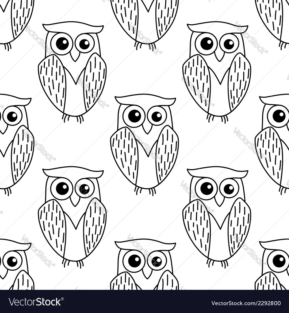 Cute little owl seamless pattern vector | Price: 1 Credit (USD $1)