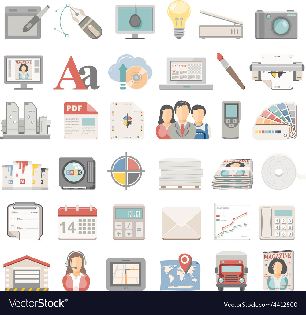 Flat icons offset printing vector | Price: 3 Credit (USD $3)