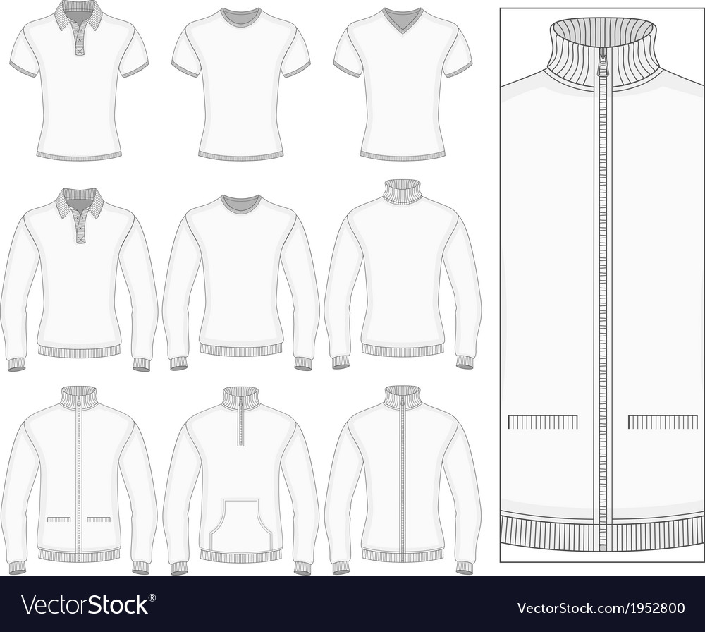 Mens short and long sleeve clothes vector | Price: 1 Credit (USD $1)