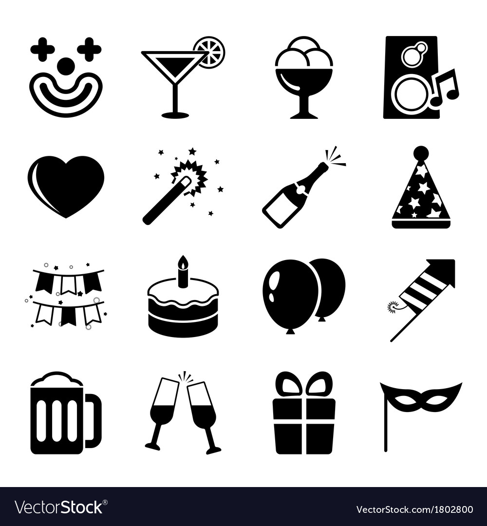 Party icons set contrast flat vector | Price: 1 Credit (USD $1)