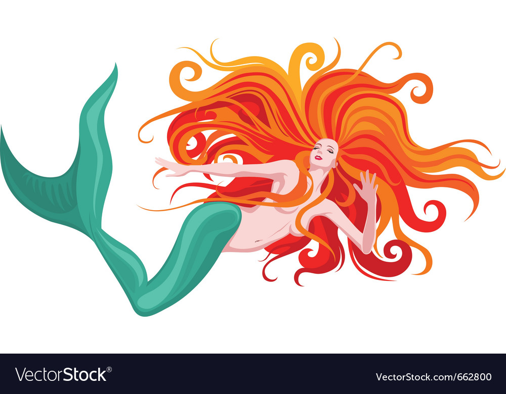 Red-haired mermaid vector | Price: 1 Credit (USD $1)