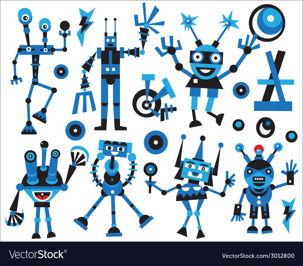 Robots icons set vector | Price: 1 Credit (USD $1)