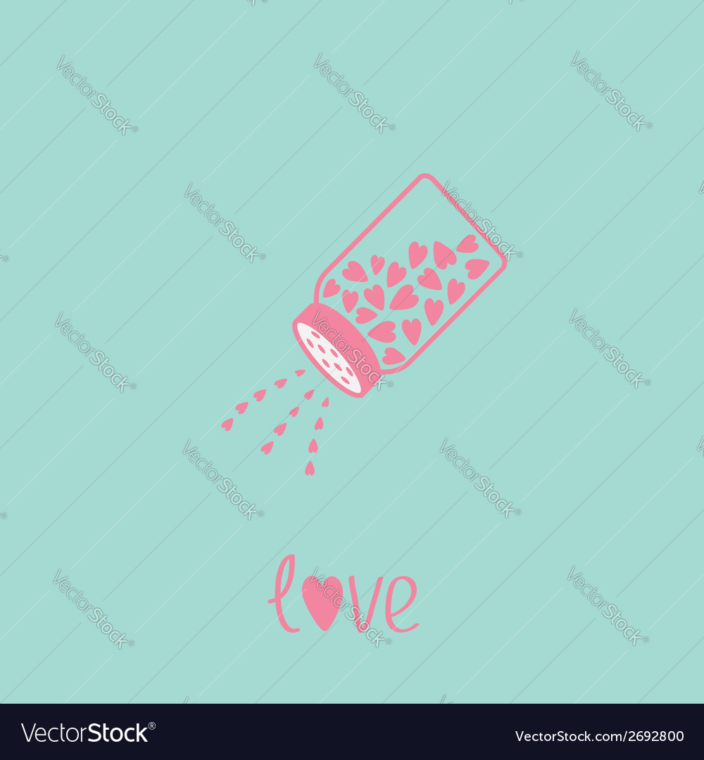 Salt shaker with hearts happy valentines day vector | Price: 1 Credit (USD $1)