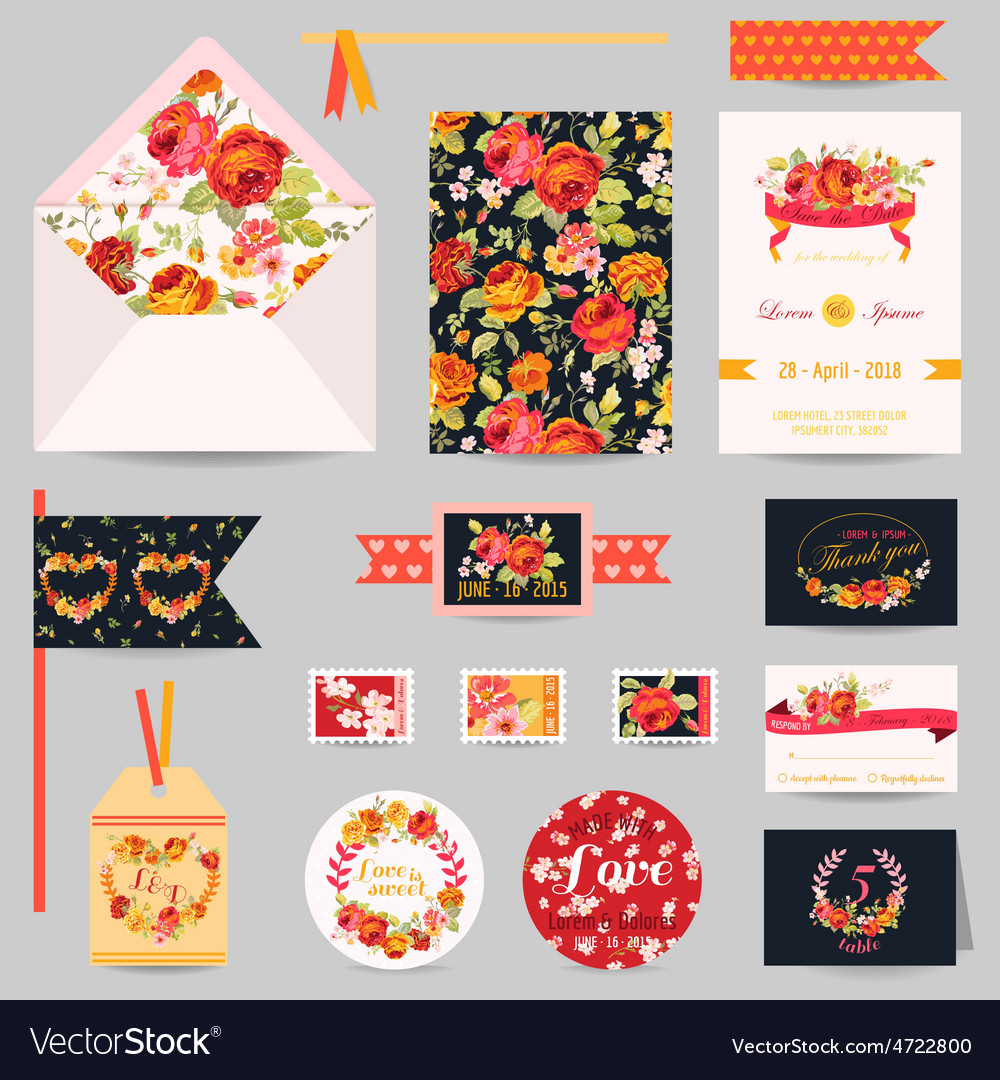 Set of wedding stationary vector | Price: 1 Credit (USD $1)