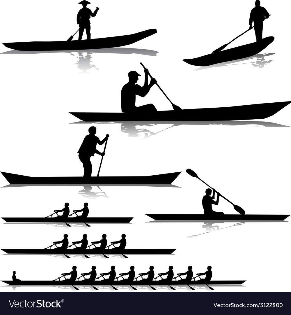 Various river rowers vector | Price: 1 Credit (USD $1)