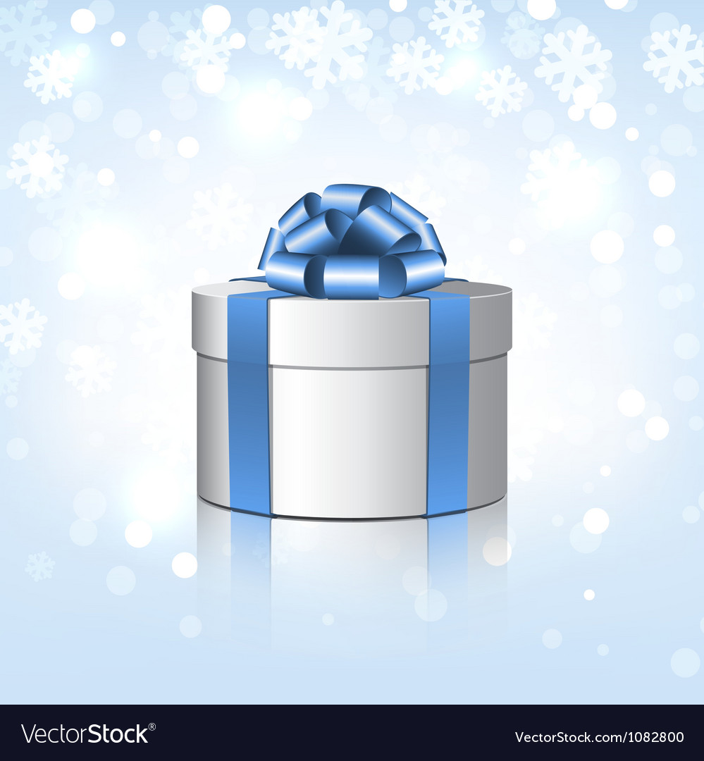 White gift box with a blue bow vector   Price: 1 Credit (USD $1)