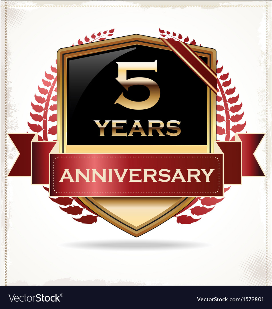 5 years anniversary golden label vector | Price: 3 Credit (USD $3)