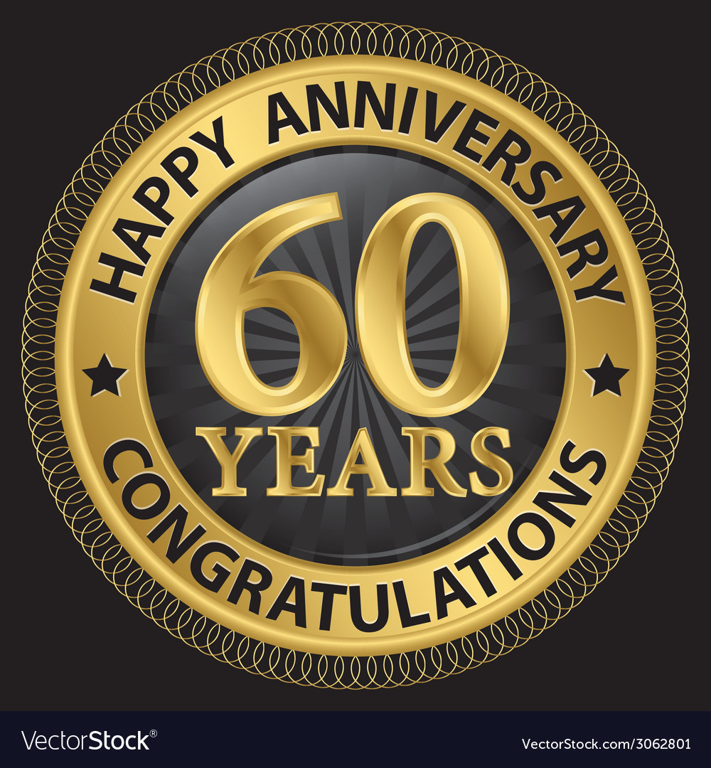 60 years happy anniversary congratulations gold vector | Price: 1 Credit (USD $1)