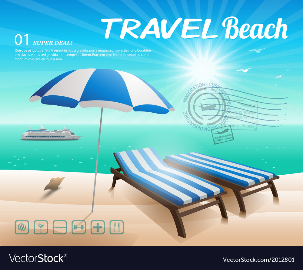 Beach background with chair and umbrella on sand vector | Price: 1 Credit (USD $1)