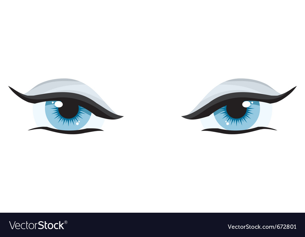 Blue womens charming eyes on a white background vector | Price: 1 Credit (USD $1)