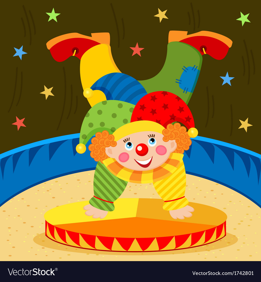 Clown on stage vector | Price: 1 Credit (USD $1)