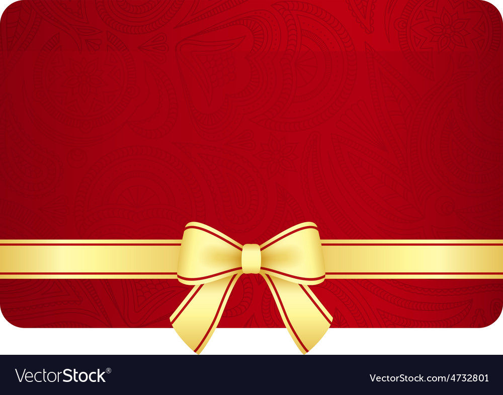 Gold gift card with red ribbon and vintage floral vector | Price: 1 Credit (USD $1)