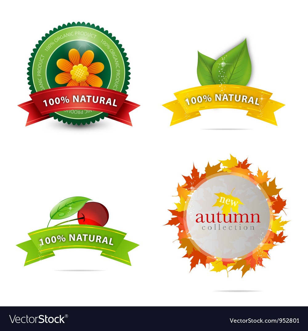 Green eco and bio emblems set vector | Price: 3 Credit (USD $3)