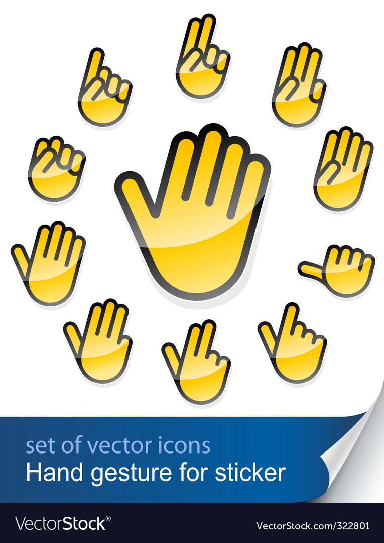 Hand gesture icons vector | Price: 1 Credit (USD $1)