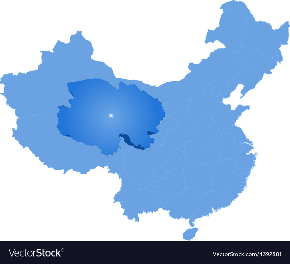 Map of peoples republic of china - qinghai vector | Price: 1 Credit (USD $1)