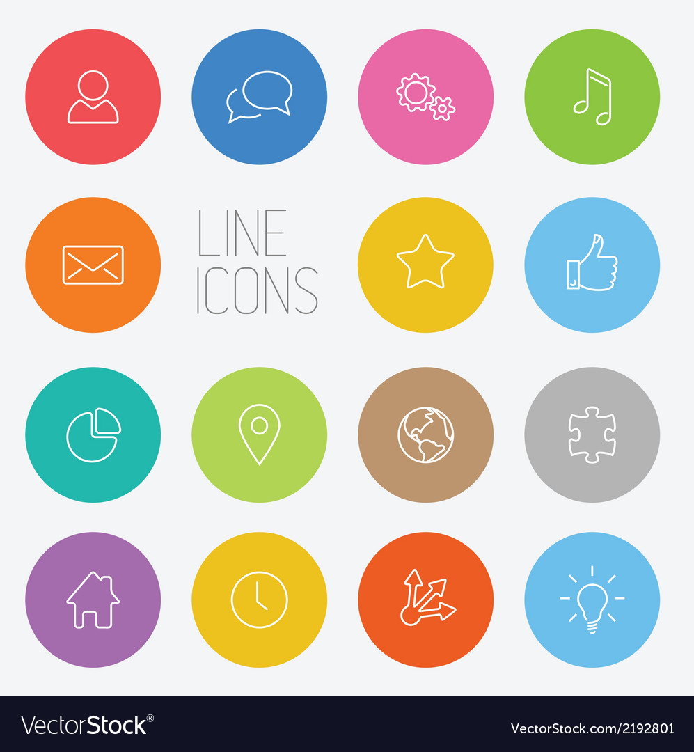Modern circle thin line icon set vector | Price: 1 Credit (USD $1)