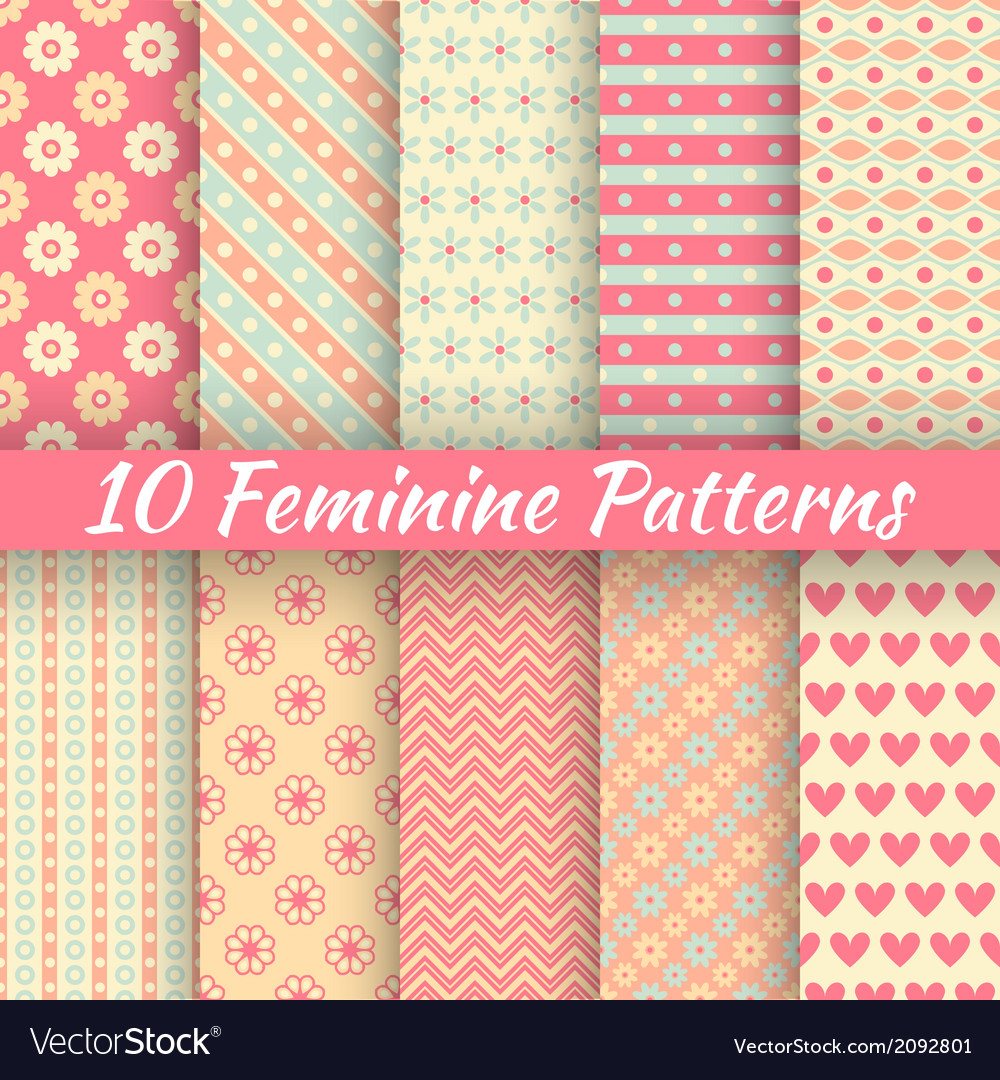 Pastel loving wedding seamless patterns tiling vector | Price: 1 Credit (USD $1)